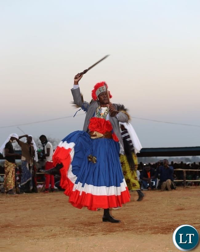 THE Mwata performing the Umutomboko (the conquest dance) during this year's ceremony.