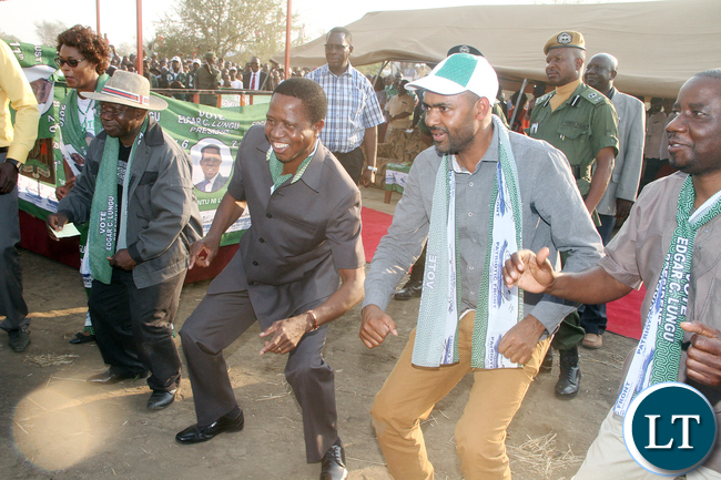 President Lungu with Sports minister Vincent Mwale, PF Deputy secretary General Mumbi Phiri during a rally in Mambwe District on Wednesday, August 3,2016-Picture by THOMAS NSAMA