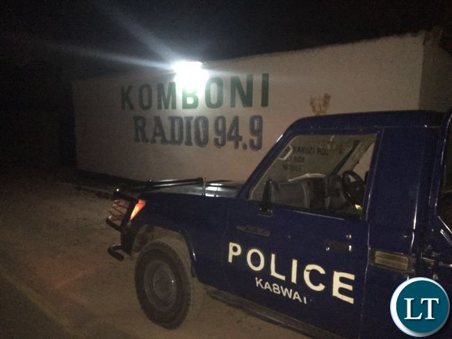 Police officers seal off Komboni Radio premises last night
