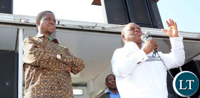 President Edgar Lungu with Former President Rupiah Banda  Pf Rally in Lundazi- Picture  by Eddie Mwanaleza/Statehouse..