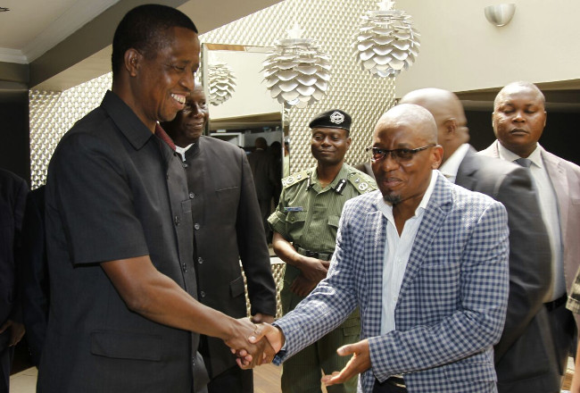 President-Elect Edgar Chagwa Lungu talks to Yepsanda Fire Service CEO James Kamanga after a Business Breakfast meeting with Business Community at Chrismar Hotel. Pic by State House ©2016