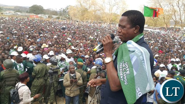 President Lungu addresses the crowd at the final PF rally   at Woodlands Stadium grounds