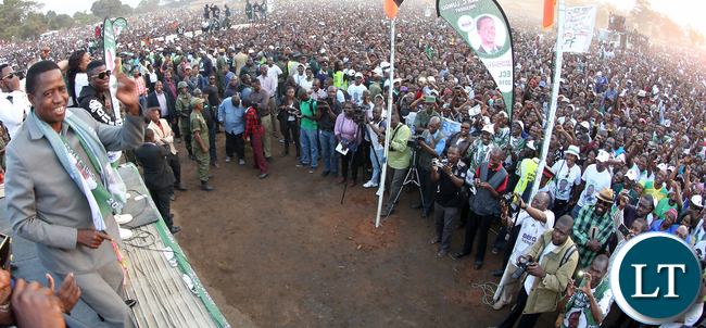 President Edgar Lungu address a rally at Mufulila -Picture  by Eddie Mwanaleza/Statehouse 01-08-2016.