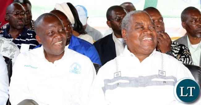 Rupiah Banda with MMD President Felix Mutali in Lundazi PF Rally