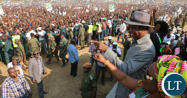 SONTAPO in Luashya .. President Lungu at arally in Luashya on Monday -01-08-2016..
