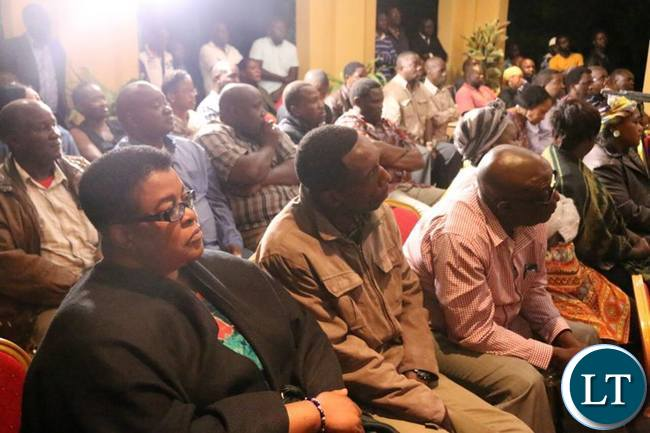 UPND members listening to Mr Hichilema's address