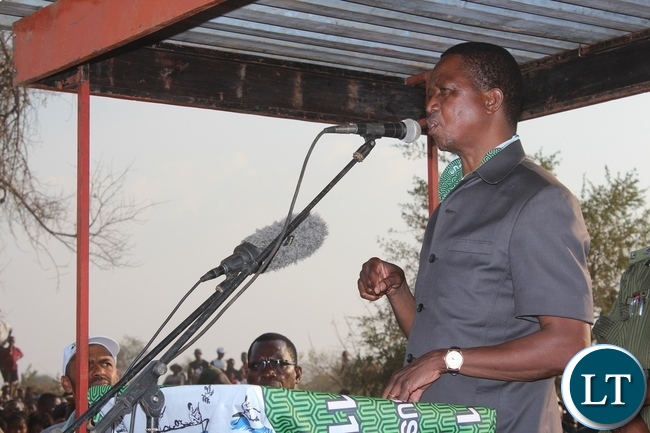 PRESIDENT Edgar Lungu speaking when he addressed a rally at cropping area in Mambwe district's Malambo constituency on Wednesday.