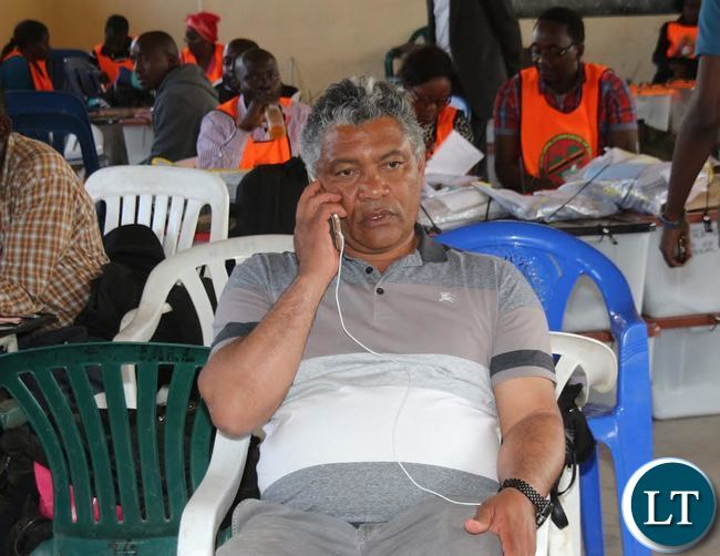 Given Lubinda at the Results Centre