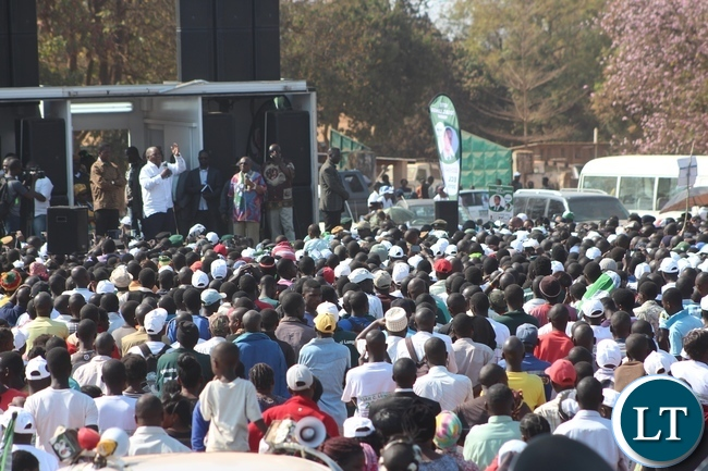 FORMER Republican President, Rupiah Banda, speaking during a rally addressed by President Edgar Lungu, left, at Lundazi market grounds in Lundazi