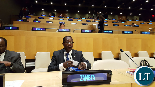 Zambia President's Political Advisor Kaizar Zulu at the High-Level Meeting on addressing Large Movements of Refugees and Migrants, in the Economic and Social Council (ECOSOC) chamber at UNHQ in New York USA on Monday 19 September, 2016. PHOTO | CHIBAULA D. SILWAMBA | ZAMBIA UN MISSION