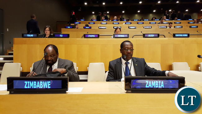 Zambia President's Political Advisor Kaizar Zulu at the High-Level Meeting on addressing Large Movements of Refugees and Migrants, in the Economic and Social Council (ECOSOC) chamber at UNHQ in New York USA on Monday 19 September, 2016. On the Zimbabwe seat is Foreign Affairs Minister Simbarashe Mumbengegwi. PHOTO | CHIBAULA D. SILWAMBA | ZAMBIA UN MISSION