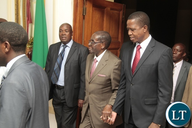 President Edgar Lungu welcomes Zimbabwean President Robert Mugabe at State House