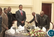 President Edgar Lungu(c) with President Robert Mugabe of Zimbabwe and first republican President Kenneth Kaunda at State House