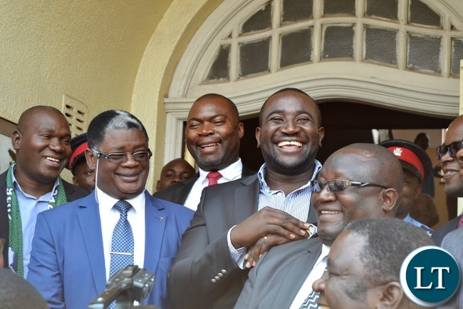 Copperbelt Province Rev. Howard Sikwela (in glasses) introduces Copperbelt Minister Bowman Lusambo and some Ndola based MPs at the Provincial Headquarters on Friday