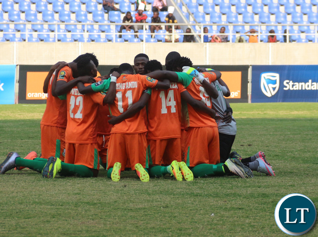 ZESCO Players in team pep talk