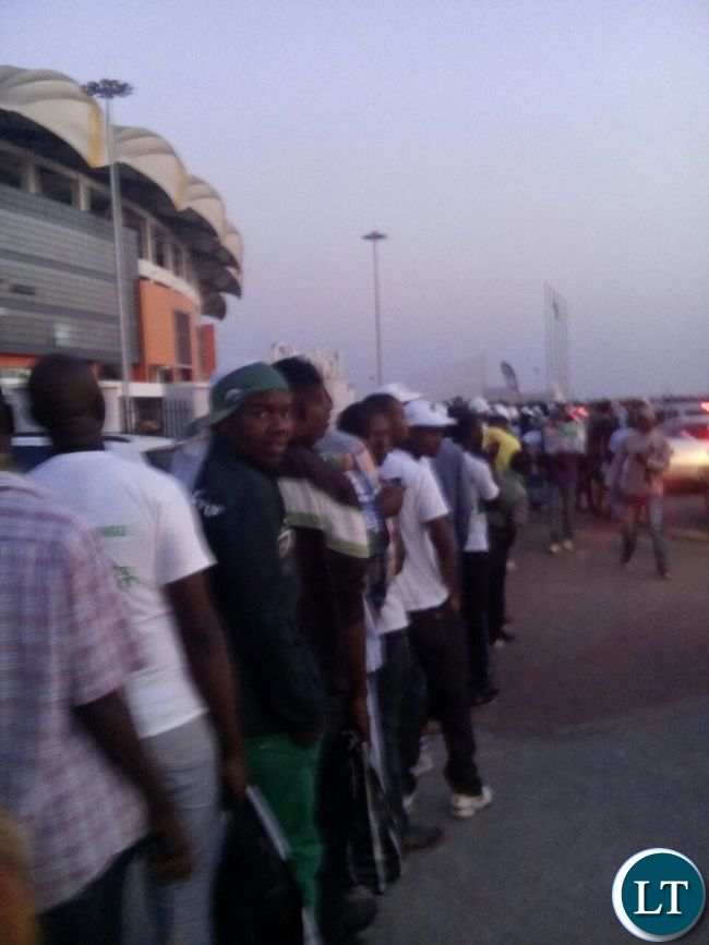 People line up to enter Heroes Stadium before 06 Hours