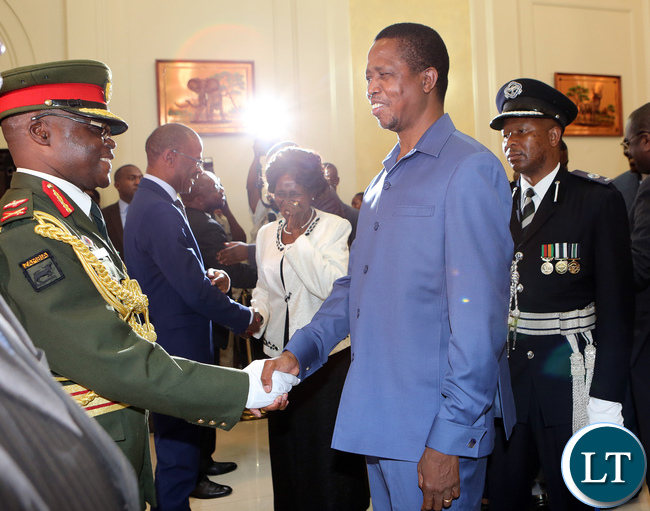 President Edgar Lungu Talks to Major General Jackson Phiri Zambia army deputy Commander after the Swearing in Ceremony at State house