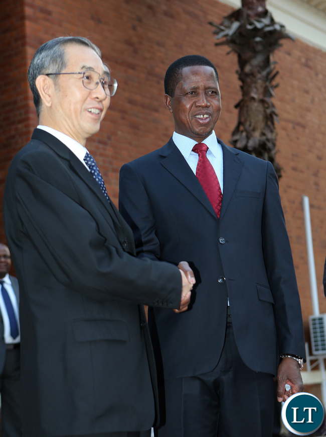 President Elect Edgar Lungu welcomes Mr Ma Biao Special Envoy of President Xi Jinping and Vice-Chairman of CPPCC at State house