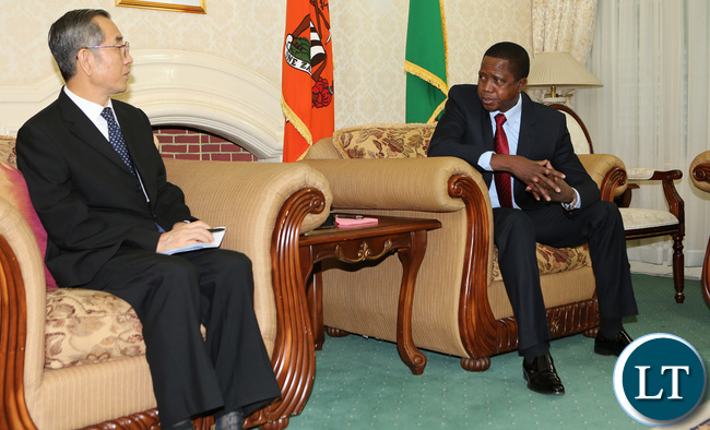 President Elect-Edgar Lungu welcomes Mr Ma Biao-Special-Envoy-of-President Xi Jinping and Vice Chairman of CPPCC at State House