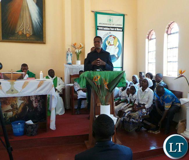 President Lungu speaking in Church