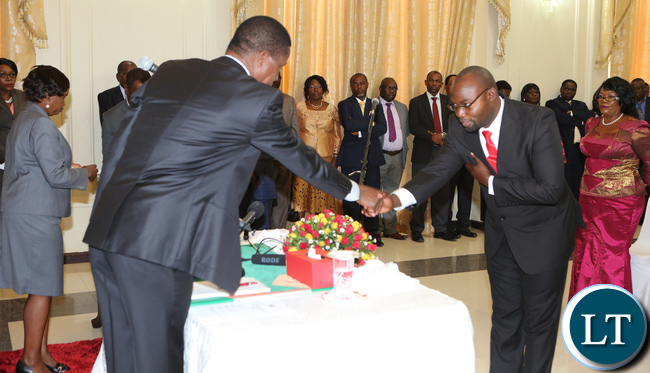 President Lungu thanks Mr Mawere during the Swearing in Ceremony