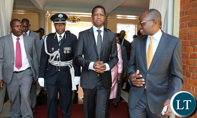 President lungu with Amos Chanda arrive at the swearing in Ceremony at State house