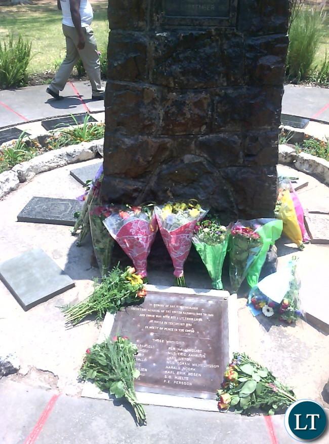 Wreaths laid on the crash site