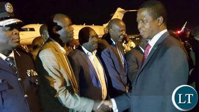 President Lungu being welcomed by PF Secretary General Davies Mwila