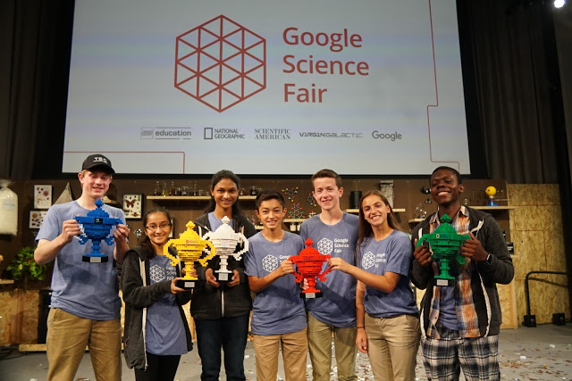 Winners of the different categories at the Google Science Fair (Zambian ,Mphatso, on the far right)