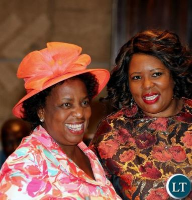 Minister of Labour and Social Security Joyce Nonde-Simukoko(L)