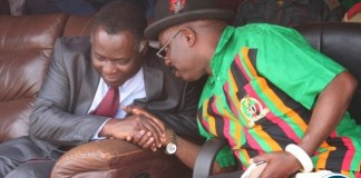 Chief Mumena (r ) shares a light moment with North-Western province minister Richard Kapitaduring the commemoration of 52ndIndependence at Solwezi Stadium