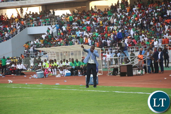 Zambian National team Coach Wedson Nyirenda shouting instructions to his charges