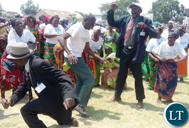 Some freedom fighters showcasing their dancing skills during this year's independence day celebrations at Godfrey Chitalu stadium in Kabwe