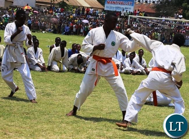 Kabwe based karatekas displaying their fighting skills at this year's independence day celebrations at Godfrey Chitalu stadium in Kabwe