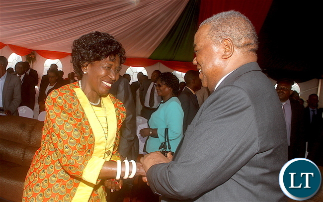 Vice-President Inonge Wina greets former president Rupiah Banda during the National Day of player, Fasting, repentance and Reconciliation at woodlands Forest Re reserve area on Tuesday, October 18,2016 -Pictures by THOMAS NSAMA