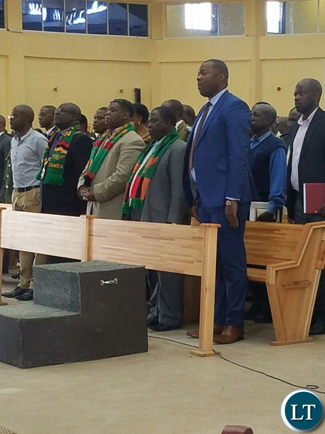 Singing during the commemoration of the National Day of Prayer and Fasting at the New Apostolic Church in Kansenshi, Ndola
