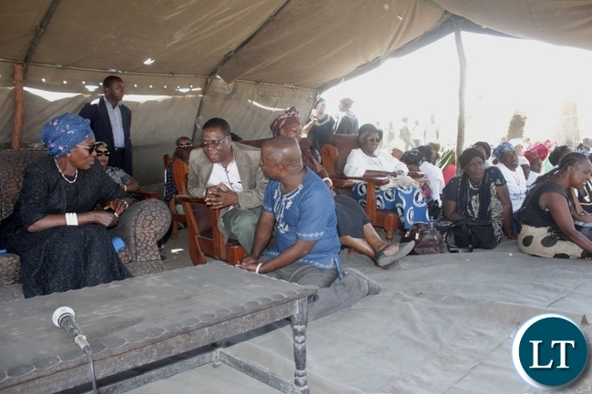 Vice President Inonge Wina (l) at the burial procession of His Royal Highness the late Chief Lukama Meebelo Sekeld of Sioma and Shangombo Districts at Ibolokwa area of Nalolo District in Western Province