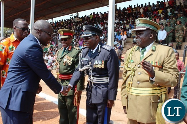 MEMBERS of the Eastern Province Joint Operation Committee, welcome Eastern Province Minister, Makebi Zulu, at this year's Independence celebrations held at David Kaunda stadium in Chipata. PICTURE BY STEPHEN MUKOBEKO/ZANIS
