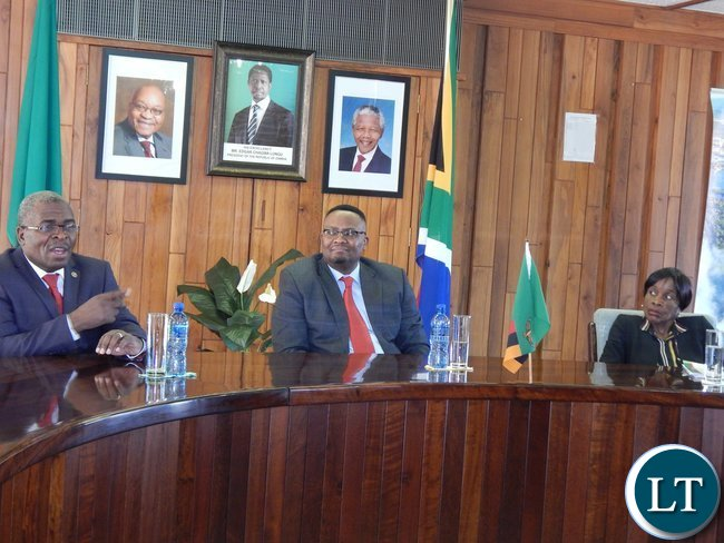 Tourism and Arts Permanent Secretary, Mr. Steven Mwansa, Zambia's High Commissioner to South Africa His Excellency Mr. Emmanuel Mwamba and Deputy High Commissioner, Ms. Philomena Kachesa during the meeting with diplomatic staff