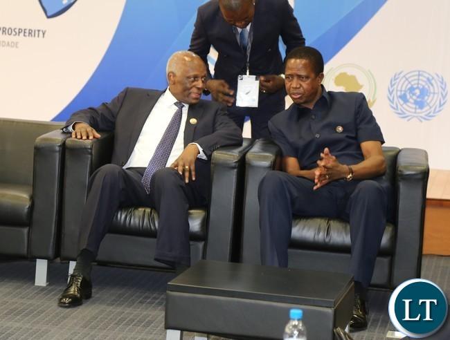 President Lungu confers with Angolan President Eduardo dos antos at vila talatona conference centre in Luanda Angola 26-10-2016. .