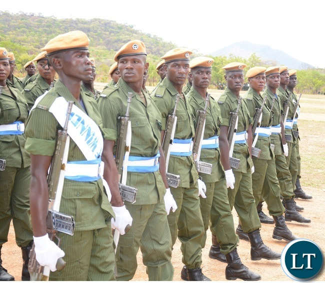 Paramilitary Graduates on Parade doing there drills during the 2015-2016 Pass out Parade in Geoffrey Mukuma Training School or called Sondela in Kafue District