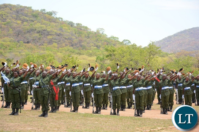 Paramilitary Graduates on Parade celebrates during the 2015-2016 Pass out Parade in Geoffrey Mukuma Training School or called Sondela in Kafue Distric