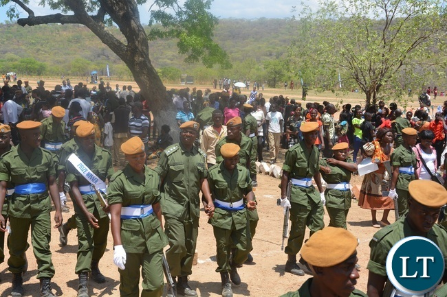 Paramilitary Graduates after Parade celebrates during the 2015-2016 Pass out Parade in Geoffrey Mukuma Training School or called Sondela in Kafue District