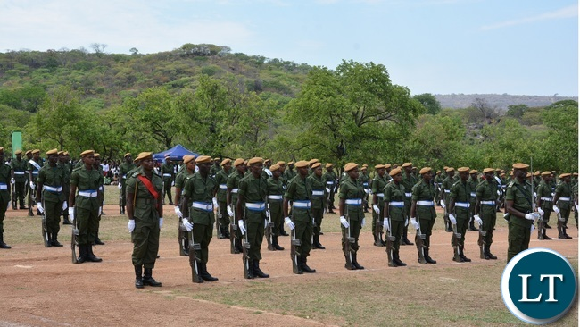 Paramilitary Graduates on Parade during the 2015-2016 Pass out Parade in Geoffrey Mukuma Training School or called Sondela in Kafue District