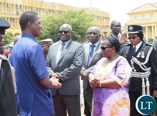 President Edgar Lungu speaking to her ladyship Chief Justice Irene Mambilima and Speaker of National Assembly Patrick Matibini during the Remembrance Day at the National Cenotaph yesterday 13-11-2016. Picture by ROYD SIBAJENE/ZANIS