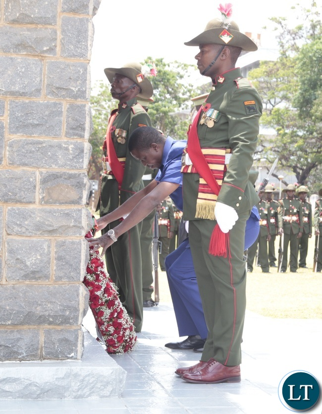 -President Edgar Lungu laying wreaths during the Remembrance Day at the National Cenotaph yesterday 13-11-2016. Picture by ROYD SIBAJENE/ZANIS