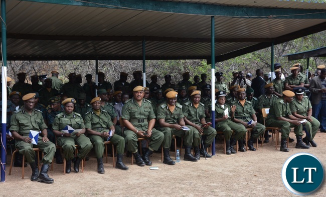 Police Commissioners from all the Provincial Police Headquarters following the Parade proceedings during the  2015-2016 Pass out Parade in Geoffrey Mukuma Training School or called Sondela in Kafue District