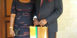 Finance Minister Felix Mutati with wife Grace a few minutes before presenting the 2017 national budget