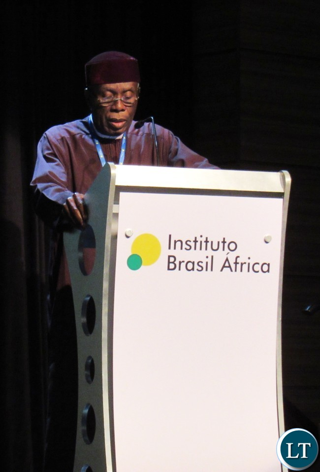 Nigeria's Minister for Agriculture and Rural Development Chief Audu Ogbeh delivering a presentation during the 4th Brazil Africa Forum in Foz do Iguacu, Brazil