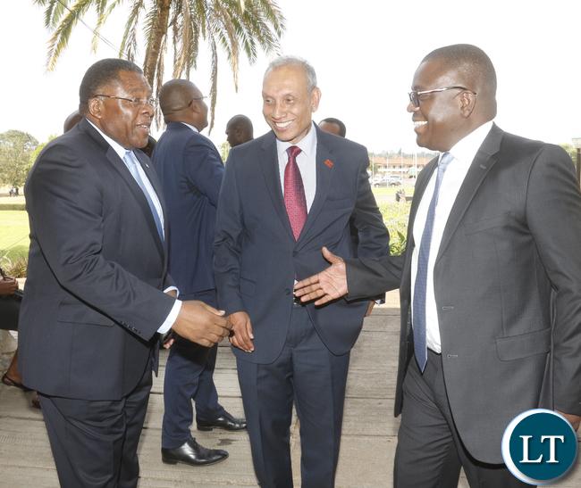 Captains of the industry: Zambia Development Agence Director General Patrick Chisanga, Sri Lanka Honorary Consul to Zambia Elmo Jayetileke and Zambia National Building Society CEO Joseph Chikolwa.